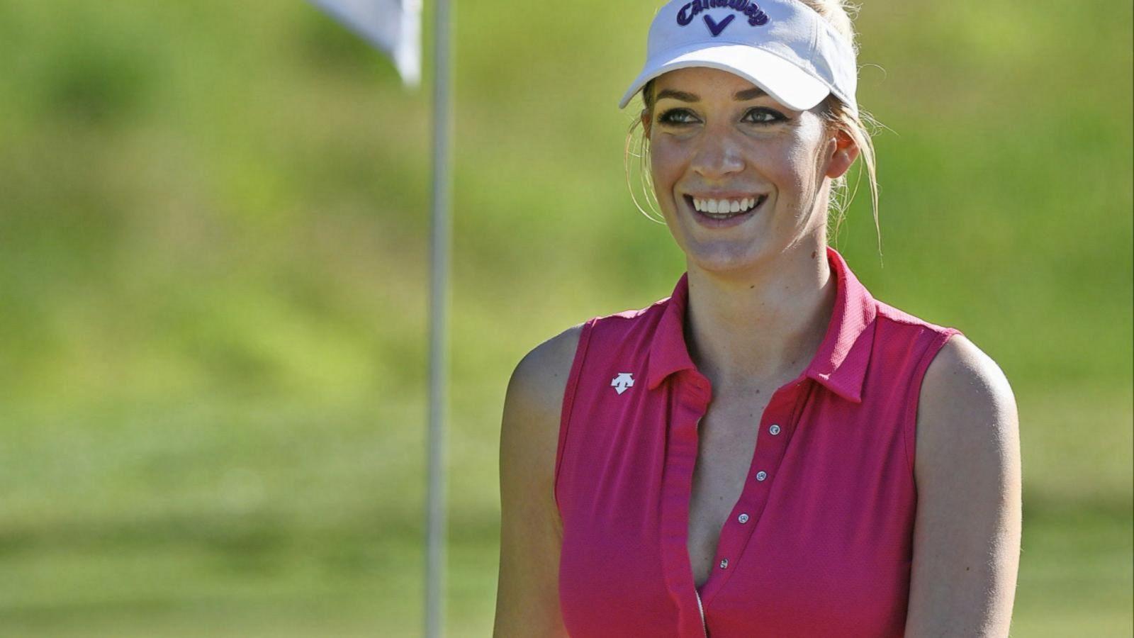 Woman playing golf