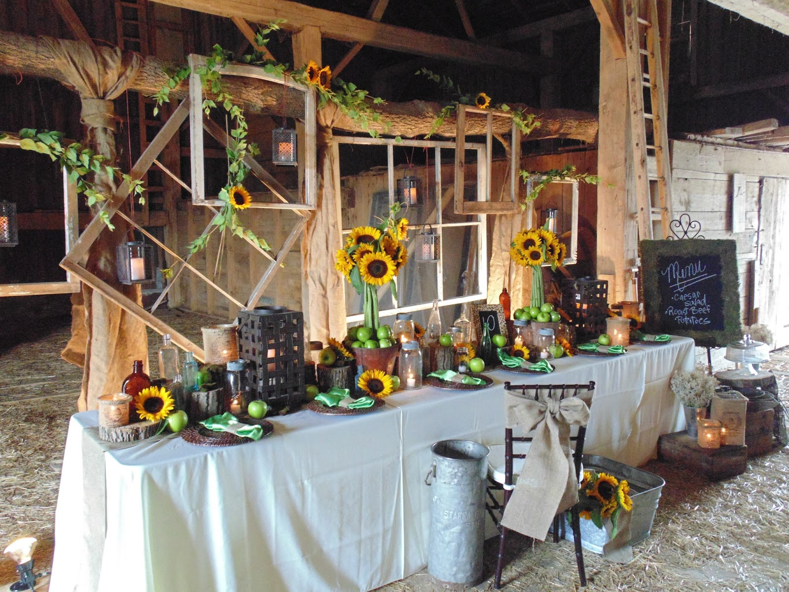 diy-barn-wedding-sunflower-decor