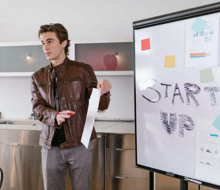 man talking about tech startup